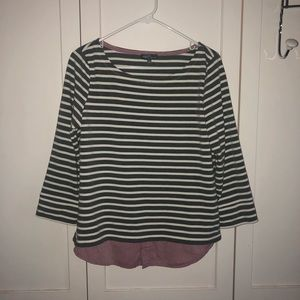 striped top w/ mauve flannel-like bottom